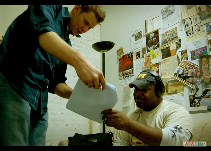 Director Thomas C. Gaunt and Actor Arque Springfield review the script